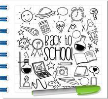 Schulelement im Gekritzel- oder Skizzenstil auf Notizbuch