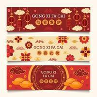 gong xi fa cai banner kinesiskt nyår vektor