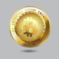 Kryptowährung Bitcoin auf isoliertem Hintergrund. Vektorillustration