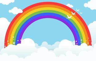 Regenbogen- und Wolkenhintergrund vektor