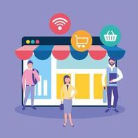 Online-Geschäftskonzept mit Menschen vektor