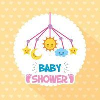 Babypartykarte mit niedlichen Symbolen hängen vektor