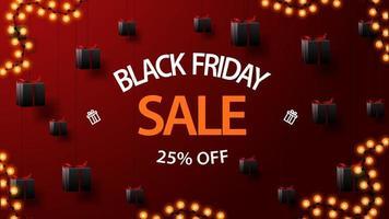 Black Friday Sale, bis zu 25 Rabatt, rotes Banner mit Geschenken, die mit Seilen an der Decke befestigt sind und in der Luft schweben vektor