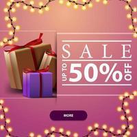 försäljning, upp till 50 rabatt, rosa fyrkantig rabattbanner med ramkrans och presentaskar vektor