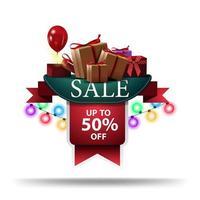 försäljning, upp till 50 rabatt, rabatt banner i form av band med krans och gåvor isolerad på vit bakgrund vektor