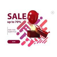 Verkauf, bis zu 70 aus, moderne Farbbanner mit Geschenkbox und Ballon lokalisiert auf weißem Hintergrund