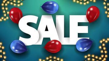 stora volym bokstäver försäljning på blått bord med röda och blåa ballonger, ovanifrån vektor