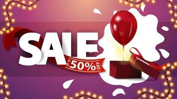 försäljning, upp till 50 rabatt, rosa rabattbanner med krans och presentask med ballong vektor