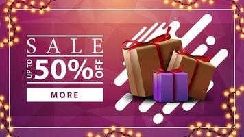 försäljning, upp till 50 rabatt, rosa horisontell rabattbanner med krans och presentaskar vektor