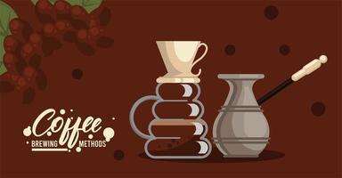häll över och turkiskt kaffebryggningsmetoder