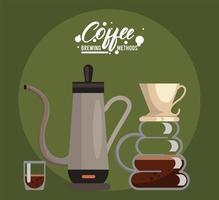 häll över och percolator kaffebryggningsmetoder