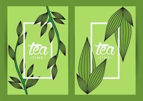 Teezeit-Beschriftungsplakat mit Blattrahmen vektor