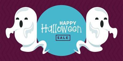 glückliche Halloween-Feierkarte mit Geistergeistern vektor