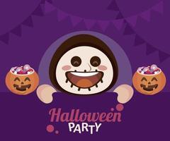 fröhliche Halloween-Party mit Skelett und Bonbons im Kürbis