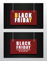 svart fredag försäljning banner med etiketter hängande