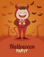 Happy Halloween Party mit kleinen Teufel und Fledermäusen fliegen