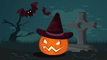 glückliche Halloween-Feierkarte mit Kürbis und Fledermäusen im Friedhof vektor