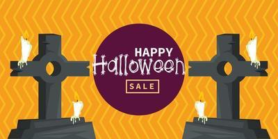 glückliche Halloween-Feierkarte mit Friedhofsgräbern und Kerzen vektor