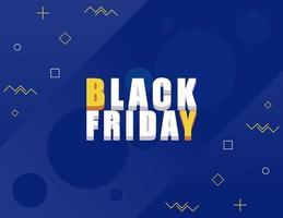 svart fredag försäljning banner med isometrisk bokstäver i blå bakgrund