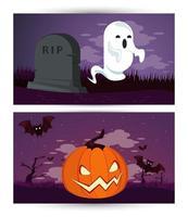 glückliche Halloween-Feierkarte mit Geist und Kürbis im Friedhof vektor