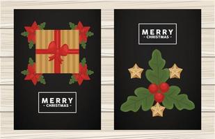 Frohe Weihnachten Schriftzug im quadratischen Rahmen mit Geschenk und Blättern vektor