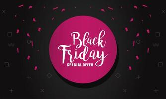 schwarzer Freitag-Verkaufsbanner mit Beschriftung im rosa kreisförmigen Rahmen