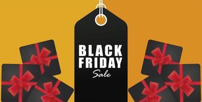 svart fredag försäljningsbanner med tagghängning och presenter