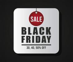 svart fredag försäljning banner med bokstäver i grå knapp