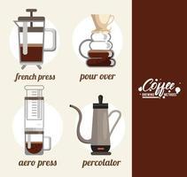 fyra kaffebryggningsmetoder buntuppsättning