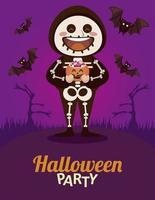 Happy Halloween Party mit Skelett und Fledermäusen fliegen
