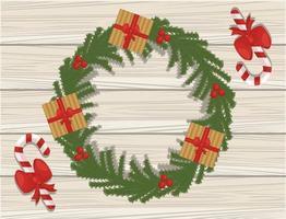 god julkort med gåvor i krans på träbakgrund vektor