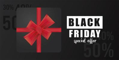 svart fredag försäljning banner med svart gåva