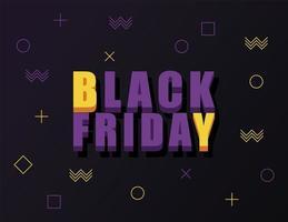 svart fredag försäljning banner med isometrisk bokstäver i svart bakgrund