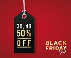 svart fredag försäljning banner med svart tagg hängande vektor