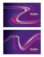 färgglada ljus spår i lila bakgrunder vektor