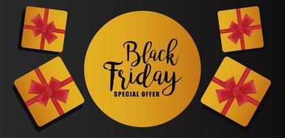 svart fredag försäljning banner med gyllene gåvor