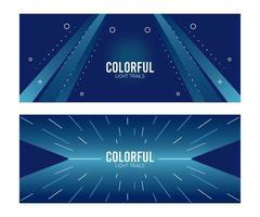 färgglada ljus spår i blå bakgrunder vektor