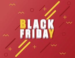 svart fredag försäljning banner med isometrisk bokstäver i röd bakgrund