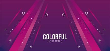 färgrik ljus spår i rosa bakgrund vektor