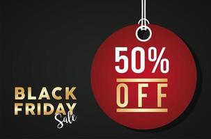 svart fredag försäljning banner med röd cirkulär tagg hängande vektor