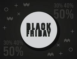 svart fredag försäljning banner med bokstäver i cirkulär ram