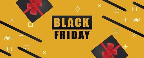 schwarzer Freitag-Verkaufsbanner mit Geschenken im gelben Hintergrund