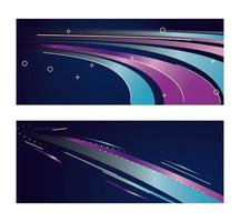 bunte Lichtspur in lila und blauen Hintergründen vektor
