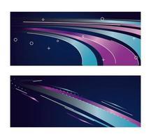färgglada ljus spår i lila och blå bakgrunder vektor