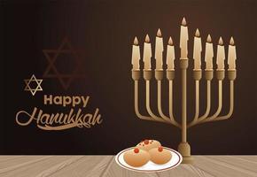 fröhliche Chanukka-Feier mit Kandelaber und Essen in der Schüssel vektor
