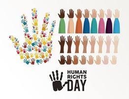 Menschenrechtsplakat mit Händen und Handabdrücken vektor