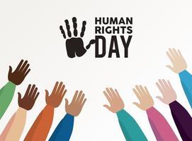 Menschenrechtsplakat mit interracial Händen hoch
