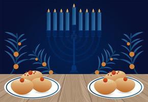 fröhliche Chanukka-Feier mit Kandelaber und Geschirr und Essen vektor