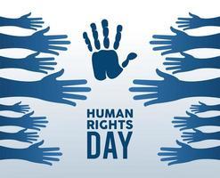 Menschenrechts-Tagesplakat mit den Händen hoch Silhouette