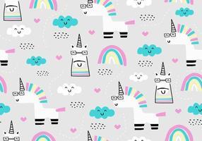 söta enhörning sömlösa mönster. djur fantasi för baby och barn mode, kläder, textil tryck. pastellfärgad bakgrund. vektor